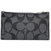 Coach Zip Card Case in Signature Coated Canvas Charcoal Black F32256