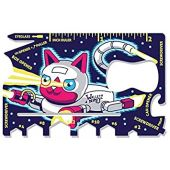 Wallet Ninja Space Puppy, Robot Kitty: 18 in 1 Credit Card Sized Multitool - Robot Kitty