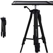 VANKYO Aluminum Tripod Projector Stand, Adjustable Laptop Stand, Multi-Function Stand, Computer Stand Adjustable Height 17'' to 46'' for Laptop with Plate and Carrying Bag (2-Black)