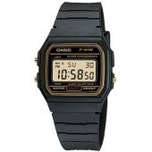 Casio F91WG-9 Men's Retro Black Band Gold Face Alarm Chronograph Digital Watch