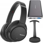 Sony WH-CH700N Wireless Noise Canceling Headphones (Black, USA Warranty) Bundle with Brushed Aluminum Headphone Stand and Ultra-Portable Power Bank Bundle