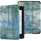 Colorful Star Slimshell Case for Kindle Paperwhite 10th Generation 2018 - Lightweight PU Leather Watercolor Painting Covers for All-New Kindle Paperwhite 4 - Lotus Painting by Claude Monet
