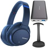 Sony WH-CH700N Wireless Noise Canceling Headphones (Blue) Bundle with Brushed Aluminum Headphone Stand and Ultra-Portable Power Bank (3 Items)