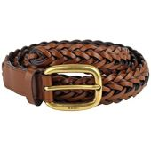 Gucci Women's Braided Leather Belt with Gold Buckle 380606 2535 Brown (38)