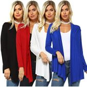Isaac Liev Women's Casual Cardigan  4 Pack Long Sleeve Open Front Flowy Lightweight Classic Flyaway Sweater Made in USA