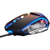 LENRUE Gaming Mouse Wired, Ergonomic Computer Mice with 7 Programmable Buttons, 4 Circular & Breathing LED Light, 4 Adjustable DPI Up to 3200 for PC Mac Laptop and Gamer (Black)