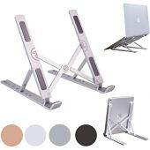 Portable Laptop Stand Foldable Aluminum Adjustable Laptop Stand for Desk with 7 Angle Adjustable Stand Compatible with MacBook Air, MacBook Pro, iPad and Tablet, Laptop. (Silver)
