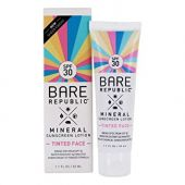 Bare Republic Tinted mineral face spf 30 sunscreen lotion, Light/Medium, Unscented, 1.7 Fluid Ounce