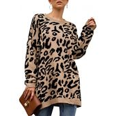 SCORP Women's Leopard Print Long Sleeve Oversize Chunky Knitted Pullover Sweaters Tops