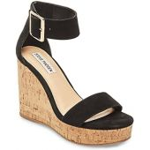Steve Madden Women's Visible Suede Black Ankle-High Wedged Sandal - 9.5M