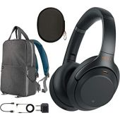 Sony WH1000XM3 Premium Noise Cancelling Wireless Bluetooth Headphones with Built in Microphone WH-1000XM3/B Black Commuter's Bundle with Deco Gear Travel Backpack with Gadget Compartment & USB Port