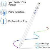 Stylus Pen (2nd Gen) for ipad, Rechargeable 1.5mm Fine Point Active ipad Pen Supports Palm Rejection, Compatible with iPad 6, iPad Mini 5, iPad Air 3, iPad Pro, iPad Pro 3 for Precise Writing/Drawing