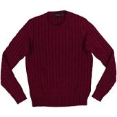 Polo Ralph Lauren Womens Cable Knit Crew Neck Sweater (Small, Red Heather)