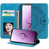 MEUPZZK Samsung Galaxy S9 Wallet Case, Embossed Totem Pattern Premium PU Leather [Folio Flip] [Kickstand] [Card Slots] [Wrist Strap] [5.8 inch] Cover for Samsung S9 (P-Blue)