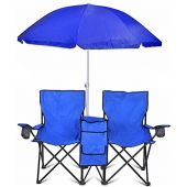 Go Team Portable Double Folding Chair w/Removable Umbrella, Cooler Bag and Carry Case