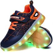 YUNICUS Kids Light Up Shoes Led Flash Sneakers with Spider Upper USB Charge for Boys Girls Toddles Best Gift for Birthday Thanksgiving Christmas Day