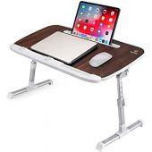 IM LIVE WT01 Lap Desk for Bed, Portable Adjustable Wood Laptop Desk/Table iPad Stand/Holder Lap Tray, Lap Desk for Kids,Adult, in Bed Couch Sofa Office