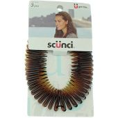 Scunci Effortless Beauty Stretch Hair Combs Tortoise, Opaque White, and Black (3-Count)