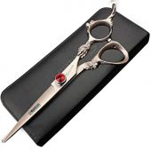 6 inch 440c high hardness rose gold stainless steel exquisite pattern hairdressing scissors salons hairdressers hair cutting and thinning pruning tools (Cutting Scissors)