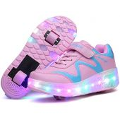 Qneic USB Chargable LED Light Up Double Wheeled Roller Skate Sneaker Shoes for Women