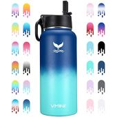 Vmini Water Bottle with New Wide Handle Straw Lid, Wide Mouth Vacuum Insulated 18/8 Stainless Steel, 32 oz, Gradient Mazarine + Blue