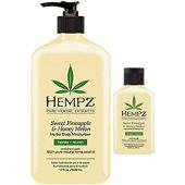 Hempz Natural Herbal Body Moisturizer: Sweet Pineapple & Honey Melon Skin Lotion, 17 oz + 2.25 Travel Size Shrink Wrapped in Strong Box for Storage