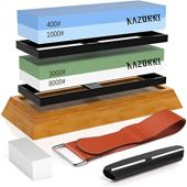 Razorri Knife Sharpening Stone Kit, Double-Sided 400/1000 and 3000/8000 Grit Whetstones, Flattening Stone, Leather Strop, and Angle Guide Included, Sharpen and Polish Any Metal Blade (Flat Base)