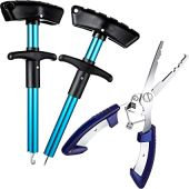 2 Pieces Fishing Hook Remover T-Shaped Puller Extractor Hook Separator and 1 Piece Stainless Steel Fishing Pliers for Fishing Hook Tools