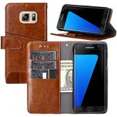 Galaxy S7 Edge Case, YEEGG Flip Cover Leather, Phone Wallet Case for Samsung Galaxy S7 Edge Case(5.5 inch) - Brown