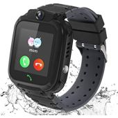 Kids Smart Watch for Boys Girls, Waterproof Kids Smart Watches with Games SOS Call Camera Touch Screen LBS Tracker Kids Smartwatch, Smart Watches for Kids Compatible with iOS & Android (Black)