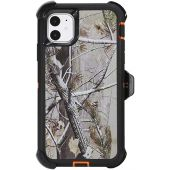"""WallSkiN Turtle Series Belt-Clip Holster Cases for iPhone 11 (6.1""""), 3-Layer Full Body Protective Defender Cover & Certified Shock, Drop, Dust Proof  Camouflage/Orange"""