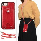 DEFBSC iPhone 7 iPhone 8 iPhone SE 2020 Crossbody Wallet Case,Premium Leather Case with Detachable Adjustable Crossbody Strap and Credit Card Slots for iPhone 7/8/SE 2020 4.7 Inch-Red