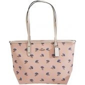 Coach F73203 City Zip Tote with Bell Flower Print Silver/Pink Multi, Large