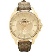 Coach Women's 14502509 Boyfriend Signature Fabric Leather Gold Tone Glitz Watch