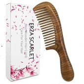ERZA SCARLET Hair Comb Wooden Wide Tooth Comb for Curly Hair Detangling Green Sandalwood Comb