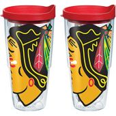 Tervis NHL Chicago Blackhawks Colossal Tumbler with Wrap and Red Lid 2 Pack 24oz, Clear