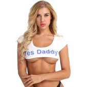 YOOJIA Women's Yes Daddy Printed Sexy Crop Tops Short Sleeve Cotton T-Shirts Cami Tee Top