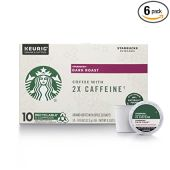 Starbucks Dark Roast K-Cup Coffee Pods with 2X Caffeine  for Keurig Brewers  6 boxes (60 pods total)