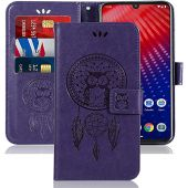 Moto Z4 Case, Moto Z4 Play Case, Sidande [Wrist Strap] Luxury PU Leather Wallet Flip Protective Phone Case Cover with Card Slots and Stand for Motorola Moto Z4 Play (Purple)