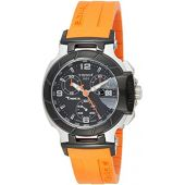 Tissot Women's T0482172705700 T-Race Black Chronograph Dial Orange Strap Watch