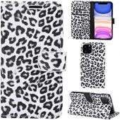 DodoBuy iPhone 11 Case Leopard Print PU Leather Flip Cover Wallet Kickstand Feature with Card Slots Cash Holder Magnetic Clasp for iPhone 11 - White