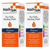 Nail Tek Hydrate 2, Moisturizing Strengthener for Soft and Peeling Nails, Nourish, Protect Nails from Chips, Splits, Peeling, and Breakage, 0.5 oz, 2-Pack