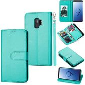 DEFBSC Samsung Galaxy S9 Wallet Case,Magnetic Premium Leather Folio Flip Case with 9 Card Slots/Holder Kickstand and Wrist Strap for Samsung S9-Mint Green