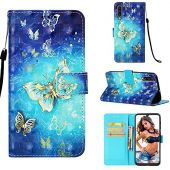 for Galaxy A50 Case,Voanice Premium PU Leather Wallet with Card Slots Holder Kickstand Flip Phone Folio Cover Magnetic Full Body Protective Shockproof Women Men for Samsung Galaxy A50 -Blue Butterfly