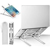 Laptop Stand Adjustable Laptop Holder Aluminum Portable NotebookRiser for 10-15.6 inches Laptop, iPad, Smartphone, Book in Travel, Bedroom&Office (Silver Laptop Stand)