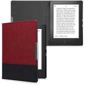 kwmobile Case Compatible with Kobo Aura H2O Edition 1 - PU Leather and Canvas e-Reader Cover - Dark Red/Black