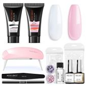 Modelones Poly Extension Gel Nail Kit, Poly Nail Gel Kit with 36W Nail Lamp Slip Solution Rhinestone Glitter Gel Builder for Nail Manicure Beginner Starter Kit DIY at Home …