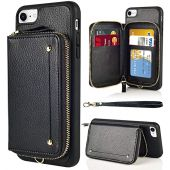 LAMEEKU Wallet Case for iPhone SE 2020, Zipper Leather Kickstand Case with Credit Card Holder Slot Wrist Strap, Anti-Scratch Shock Absorption Cover Case for iPhone SE(2nd)/7/8 4.7'' - Black