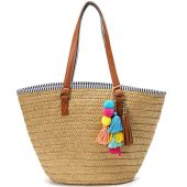 Straw Beach Bags Tote Tassels Bag Hobo Summer Handwoven Shoulder Bags Purse With Pom Poms