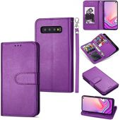 DEFBSC Samsung Galaxy S10 Plus Wallet Case,Magnetic Premium Leather Folio Flip Case with 9 Card Slots/Holder Kickstand and Wrist Strap for Samsung S10 Plus-Purple
